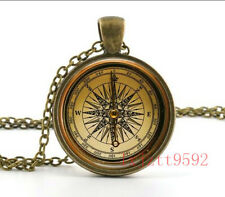 Vintage compass Old Fashioned Antique Style Glass Photo Necklaces & Pendants