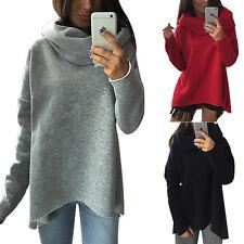 Damen Rollkragen Sweatshirt Asymmetrisch Langarm Winter Pullover Pulli Bluse Top