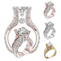 Fashion Women Rose Gold Crystal Engagement Jewelry Ring Gorgeous Accessories