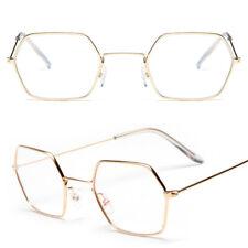 Retro Hexagon Mens Womens Square Sunglasses Metal Frame Mirror Eyewear Glasses