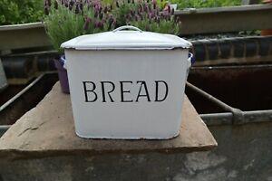 Vintage Blue & White Enamel Bread Bin Kitchen Storage Display