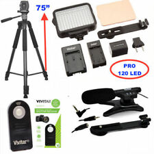 "75"" PRO TRIPOD + MICROPHONE +120 LED LIGHT FOR CANON REBEL T5 T5I T6 T6I T6S T7"