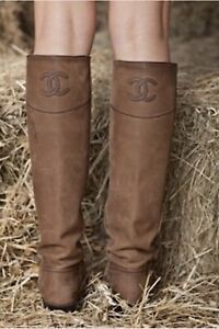 CHANEL Brown Ascot Leather Riding Boots Size 42