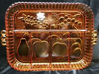 1970's Tiara Amber Indiana Glass Relish/Vegetable Tray