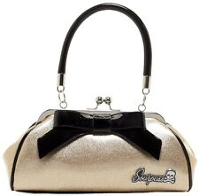 "Sourpuss ""Floozy"" Glitter Gold & Black Purse Retro Pinup Rockabilly Handbag"