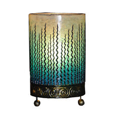 TURQUOISE Fiberglass Table Bedside Lamp Wave Design Handmade Fair Trade