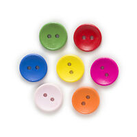 50pcs 2 Hole Multi-Color Round Wood Buttons Sewing Scrapbooking Decor Home 15mm