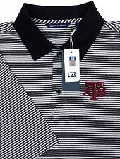 C&B Texas A&M Aggies Mens Large Tall LT Polo Shirt Black Striped New with Tags