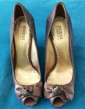 GUESS Marciano Bronze Wedge Metallic Leather High Heels Open Toe Size 8M Bow
