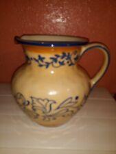 Rare Lidia Bastianich Hand Painted Stoneware Water Pitcher