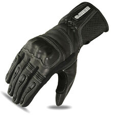 Motorbike Motorcycle Gloves Biker Racing Wear Goat Leather Knuckles Black, Small
