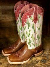 Ariat Women's Fonda Dark Tan & Cactus Print Square Toe Western Boots 10027220