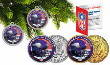 MINNESOTA VIKINGS Christmas Tree Ornaments JFK Half Dollar US 2-Coin Set NFL