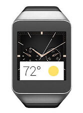 Samsung Gear Live Stainless Steel Case Silicone Rubber Black Sport Band SM-R382
