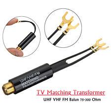 1pcs UHF VHF FM TV F Cable Balun 75-300 Ohm Adapter Antenna Matching Transformer