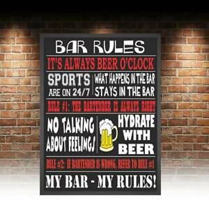 Funny Bar Rules retro vintage metal sign man cave shed bar/pub Beer Garden