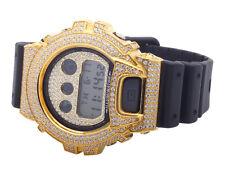Casio Mens G Shock 6900 Yellow Gold Finish White Simulated Diamond Watch 5.5 Ct