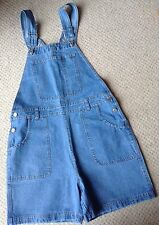 Women's Blue Denim Dungaree Shorts Size 12 NEW