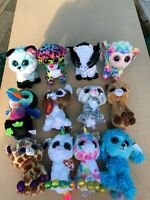 BEANIE BABIES BOO,S TY X4 ITEMS JUMBO BIG EYED PLUSH DOLL TOY 15CM JOB LOT