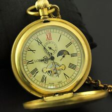 Imperial Pure Copper Antique 1882 Mechanical Pocket Watch Moon phase Tourbillion