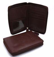 Bifold Brown Genuine Leather Large Travel Passport Zip-Around Wallet