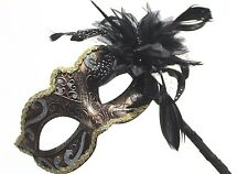 VENETIAN MASQUERADE MASK & FLOWER ON A HAND HELD STICK GOLD BLACK BRONZE SILVER