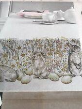 "Chloe Bunny Spillproof Tablecloth 70"" Round Rabbits Garden Benson Mills BM New"