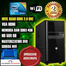 PC DESKTOP INTEL QUAD CORE RAM 4GB HD500 DVD/WIFI/HDMI FISSO COMPLETO ASSEMBLATO