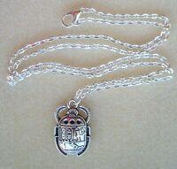 Cadena y Colgante Escarabajo Egipcio amuleto del Renacimiento y de la Eternidad