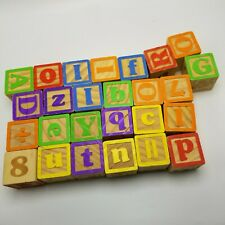 """Mixed Lot of 26 Wood Alphabet Picture Building Blocks-Toy Child's 1 3/4"""" Crafts"""