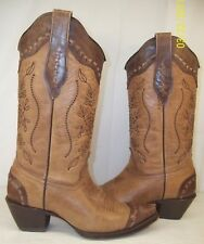Corral Boots Wo's US 6M Chocolate Sand Distressed Goat A2500 western floral snip