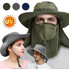 Men Women Outdoor Wide Brim Sun Hat Neck Face Flap Cap Fishing Bucket Hat 50+Upf