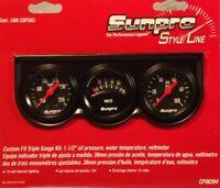 """Sunpro 1 1/2""""  Black Mini Triple Gauge Kit  / Black Bezel New CP8094 Warranty"""