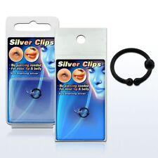925 Silber Fake Test Piercing Schwarz Unisex Nase Klemmring Lippen Intim Ø 10mm