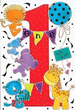 HAPPY 1ST  BIRTHDAY CARD,TEDDY THEME,TOP QUALITY (N7).