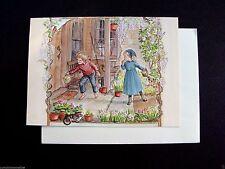 #E881- Unused Tasha Tudor Greeting Card Boy & Girl Delivering Flower  Gift