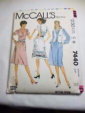 MCCALLS 7440, VTG 1981, MISSES DRESS AND VEST, SIZE 16 PREOWNED UNCUT