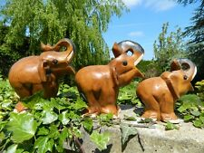 Wooden Elephants Carving - Hand Carved Set of 3 Lucky Elephant Family