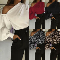 Womens Plus Size Bardot Tops Puff Sleeve Leopard Party Shirt One Shoulder Blouse