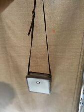 BALLY Classic Cream Leather & Brown Trim Messenger shoulder Cross Body bag