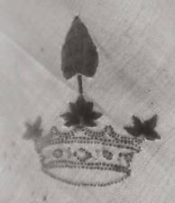 Antique 1866 9ft large white Irish linen damask tablecloth - Scrolls & Acanthus