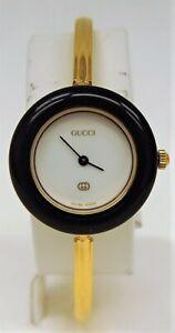 Authentic GUCCI 11/12 Interchangable Color Bezels Gold Tone Quartz Ladies Watch