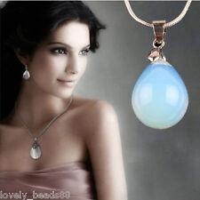 2Pc Opal/Opalite Teardrop Crystal Gemstone Floral Flower Stone Bead For Necklace