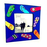 """Furio Flip Flop Picture Frame 6.5"""" Holds 4"""" Photo Beach Vacation Summer 3-D"""