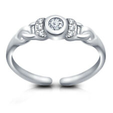 Diamond Solitaire Fancy Adjustable Toe Ring 14k White Gold Over Round Cut Vvs1