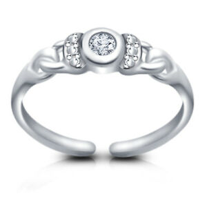 14k White Gold Over Round Cut VVS1 Diamond Solitaire Fancy Adjustable Toe Ring
