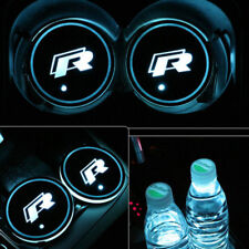 R logo Light Car Cup Holder Mat Pad Atmosphere Lamp For VW CC Tiguan Scirocco