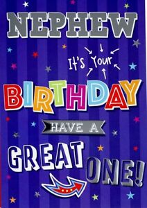 "Modern Fun Wording Have a Great One ""NEPHEW"" Birthday Card"
