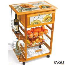 Carrello Cucina in legno Portabottiglie Portapane 3 Cestelli Acciaio Top Ceramic