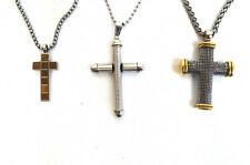 Lot 3 Stainless Steel Metal Silver Gold Cross Jesus Crucifix Wood Grain Necklace